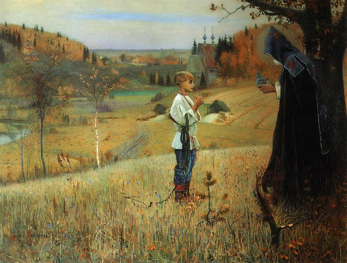 The Vision to the Boy   Mikhail Nesterov   oil painting