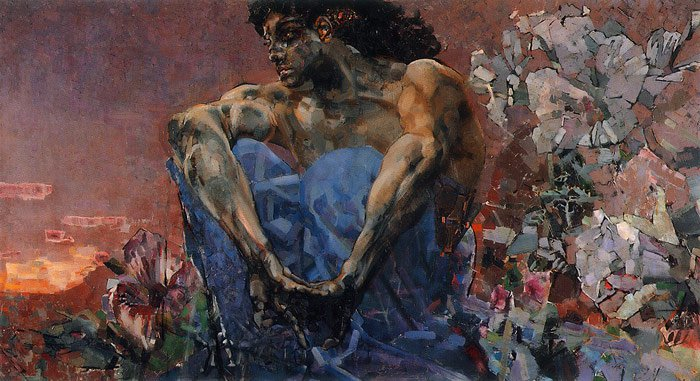 Demon Seated | Mikhail Vrubel | oil painting