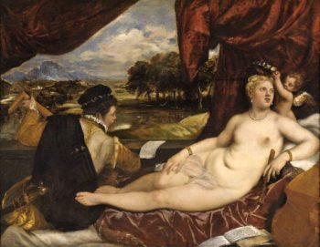 Venus and Cupid with a lute player | Tiziano Vecellio (Titian) | oil painting