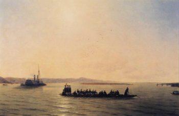 Alexander II Crossing the Danube | Ivan Aivazovsky | oil painting