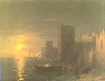 A Lunar night in the Constantinople | Ivan Aivazovsky | oil painting