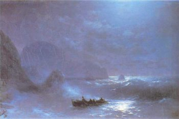 A Lunar night on a sea | Ivan Aivazovsky | oil painting