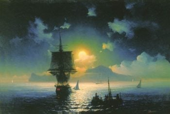 A Lunar night on Capri | Ivan Aivazovsky | oil painting