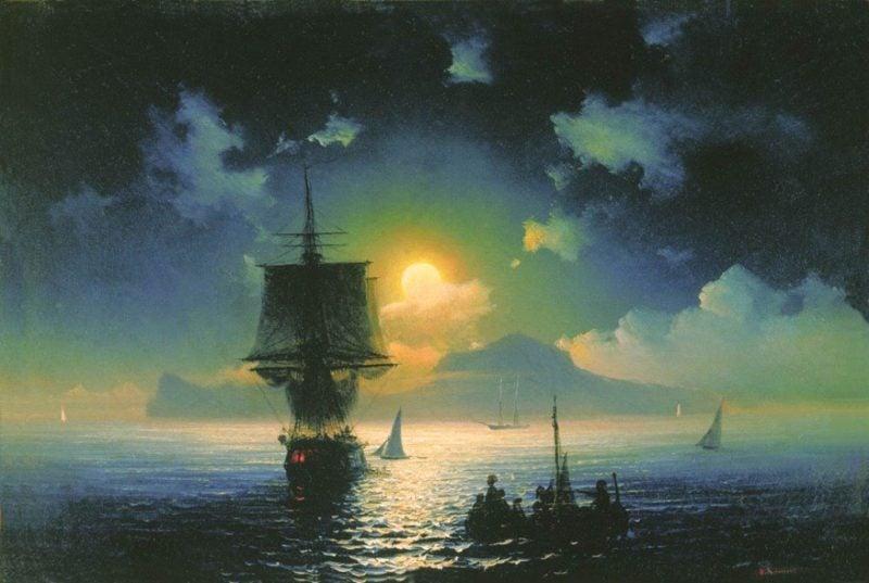 A Lunar night on Capri   Ivan Aivazovsky   oil painting