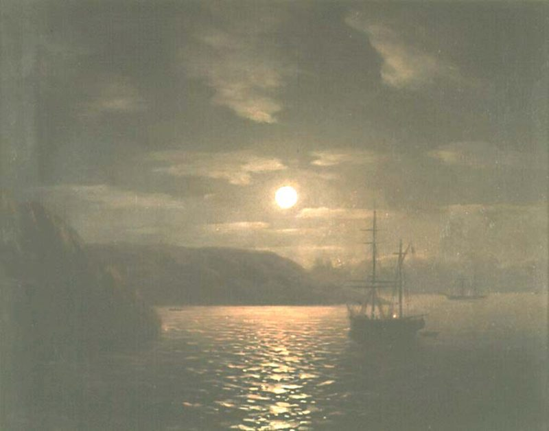 A Lunar night on the Black sea   Ivan Aivazovsky   oil painting