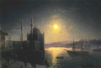 A Lunar night on the Bosphorus | Ivan Aivazovsky | oil painting