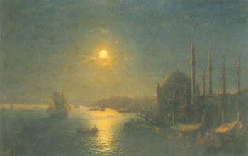 A Moonlit View of the Bosphorus | Ivan Aivazovsky | oil painting