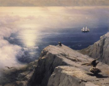 A Rocky Coastal Landscape in the Aegean with Ships in the Distance (detail) | Ivan Aivazovsky | oil painting