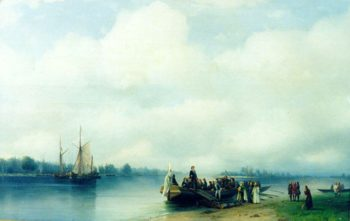 Arrival Peter the First on river Neva | Ivan Aivazovsky | oil painting