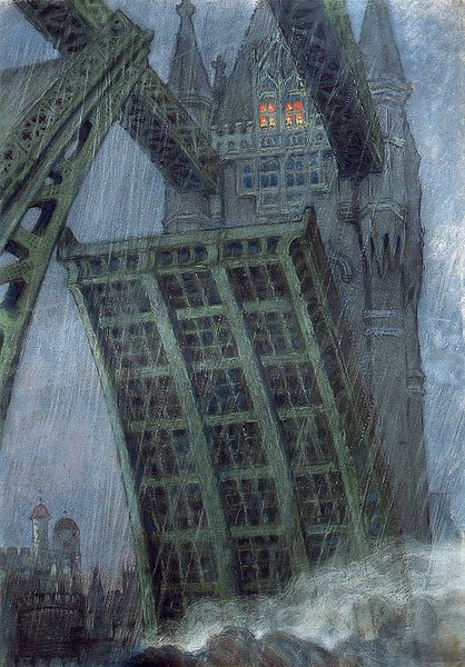 Bridge in London 1908 | Mstislav Dobuzhinsky | oil painting