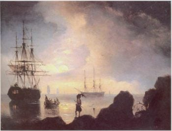 At night Smugglers | Ivan Aivazovsky | oil painting