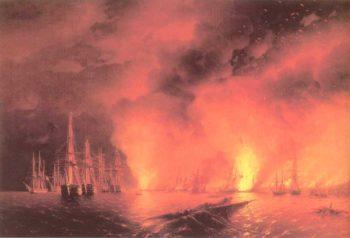 Battle near Sinop At Night | Ivan Aivazovsky | oil painting