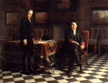 Peter the Great Interrogates His Son Alexey in Peterhof 1871 | Nikolay Gay | oil painting