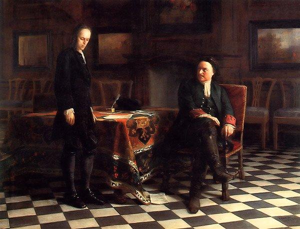 Peter the Great Interrogates His Son Alexey in Peterhof 1871   Nikolay Gay   oil painting