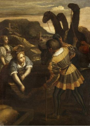 Rebecca and Eliezer at the Well | Unknown Artist | oil painting