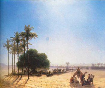 Caravan in oasis Egypt | Ivan Aivazovsky | oil painting
