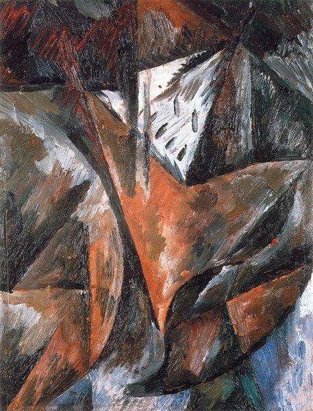 Cityscape 1913 (fragment) | Olga Rozanova | oil painting
