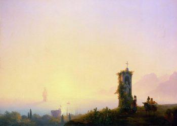 Chapel on seashore | Ivan Aivazovsky | oil painting