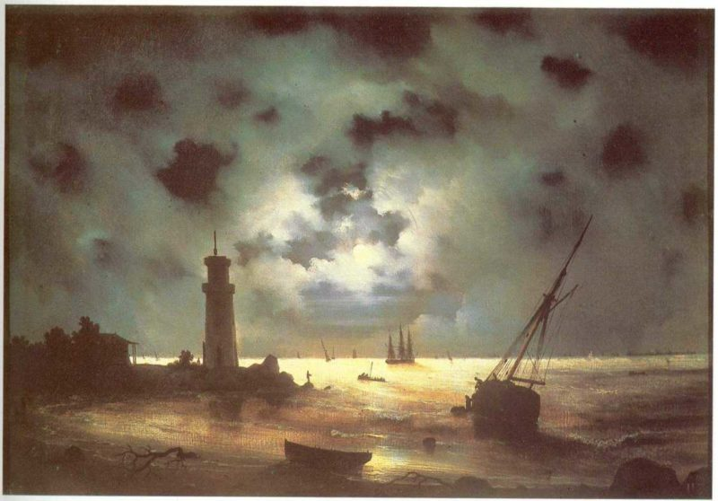 Coast of sea at night | Ivan Aivazovsky | oil painting