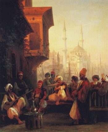 Coffee house by the Ortakoy Mosque in Constantinople | Ivan Aivazovsky | oil painting