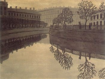 The Catherine Canal St Petersburg 1910 | Ostroumova Lebedeva | oil painting