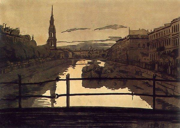 The Kryukov Canal St Petersburg 1910 | Ostroumova Lebedeva | oil painting