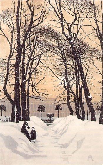 The Summer Garden in Winter St Petersburg 1902 | Ostroumova Lebedeva | oil painting