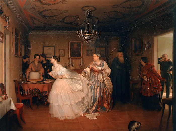Courtship of a Major 1848 | Pavel Fedotov | oil painting