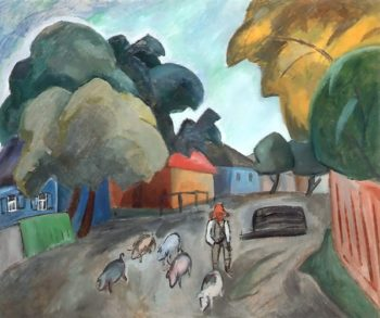 Landscape with Pigs 1912 | Robert Falk | oil painting