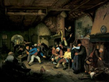 Peasants Dancing in a Tavern | Adriaen van Ostade | oil painting