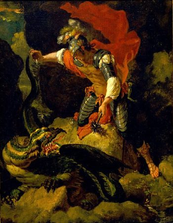Jason Poisoning the Dragon | After Salvator Rosa | oil painting