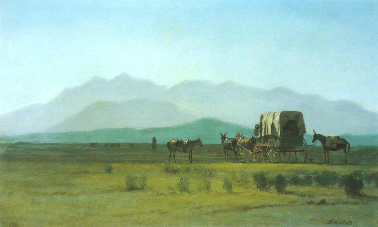Surveyors Wagon in the Rockies | Albert Bierstadt | oil painting