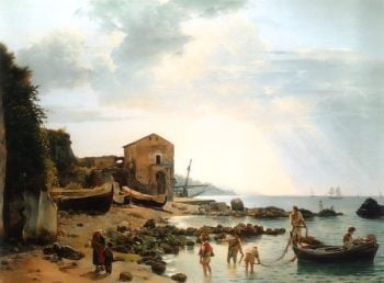 The Small Bay in Sorrento with the View of Islands Ischia and Procida 1826 | Sylvester Shchedrin | oil painting