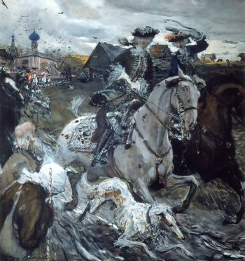 Peter II and Elizabeth Riding with Hounds 1900 | Valentin Serov | oil painting