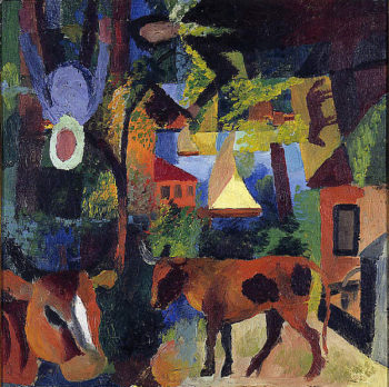 Landscape with Cows Sailing Boat and Figures | August Macke | oil painting