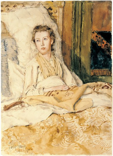 Maude Sewing | Childe Hassam | oil painting