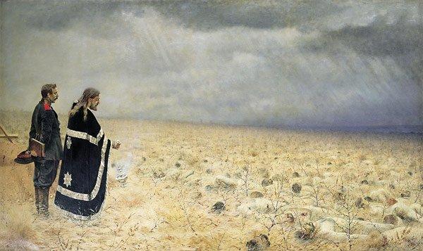 The Defeated Office for the Dead 1877 1878 | Vasily Vereschagin | oil painting