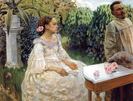 Self Portrait with a Sister 1898 | Victor Borisov Musatov | oil painting