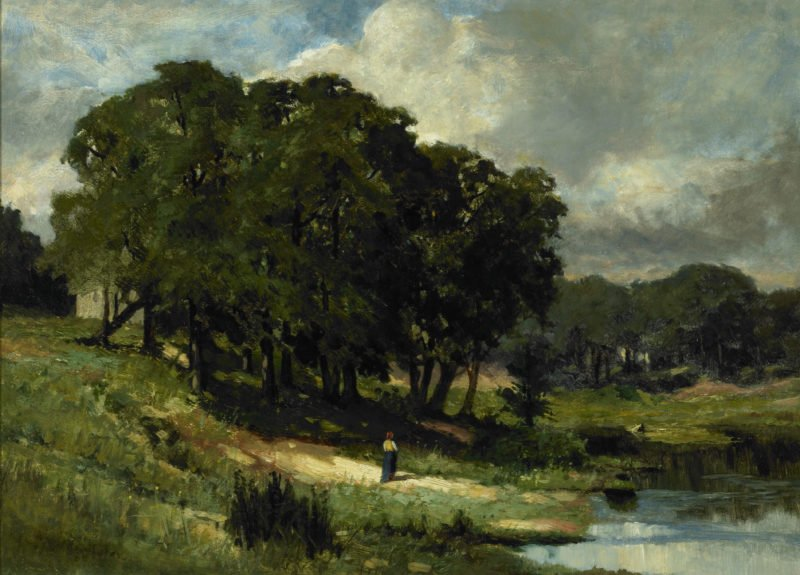 Woman Standing Near a Pond | Edward Mitchell Bannister | oil painting