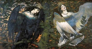 Sirin and Alkonost Birds of Joy and Sadness 1896 | Victor Vasnetsov | oil painting