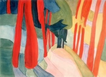 Red Tree Trunks late 1920s | Xenia Ender | oil painting