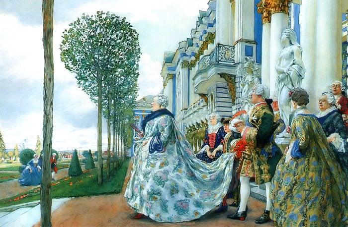 Empress Elizabeth in Tsarskoye Selo 1905   Yevgeny Lanceray   oil painting