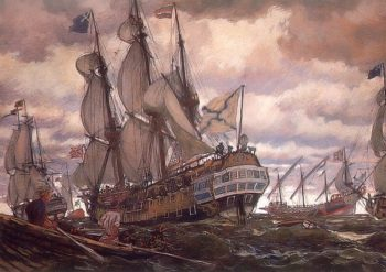 Ships of the Times of Peter I 1909 | Yevgeny Lanceray | oil painting