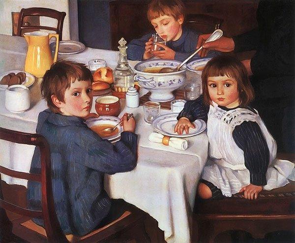 At Breakfast 1914 | Zinaida Serebryakova | oil painting
