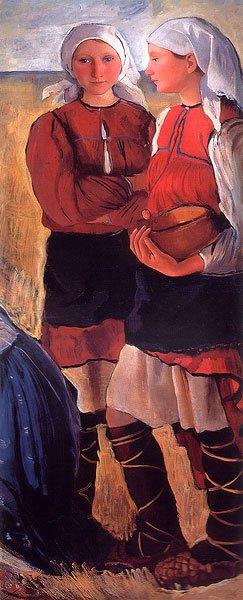 Two Peasant Girls 1915 | Zinaida Serebryakova | oil painting
