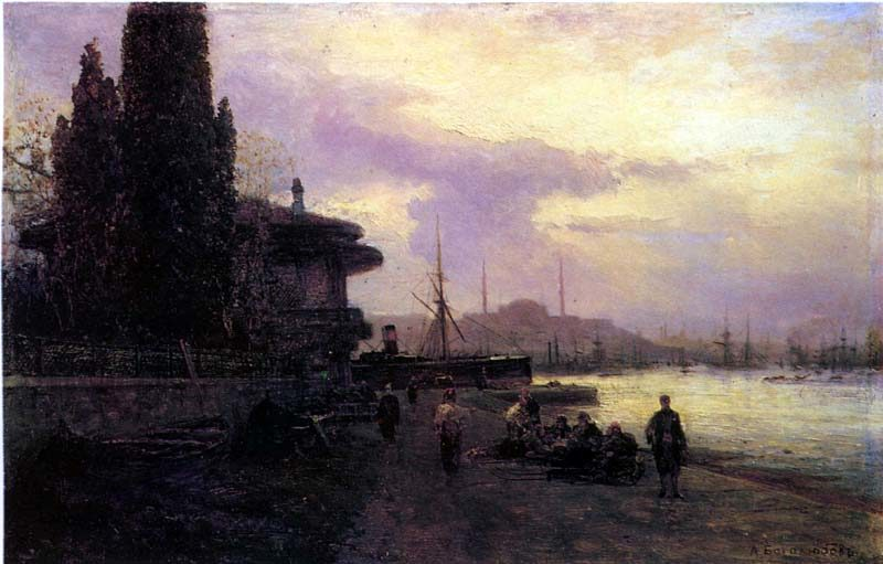 1850 Enbankment of Constantinople | Alexey Petrovich Bogolubov | oil painting