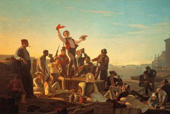Jolly Flatboatmen in Port | George Caleb Bingham | oil painting
