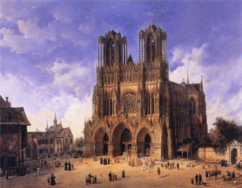 Reims Cathedral   Domenico Quaglio   oil painting