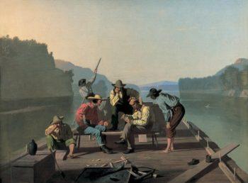 Raftsmen Playing Cards | George Caleb Bingham | oil painting