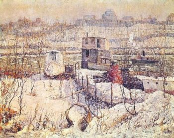 Boathouse Winter Harlem River | Ernest Lawson | oil painting